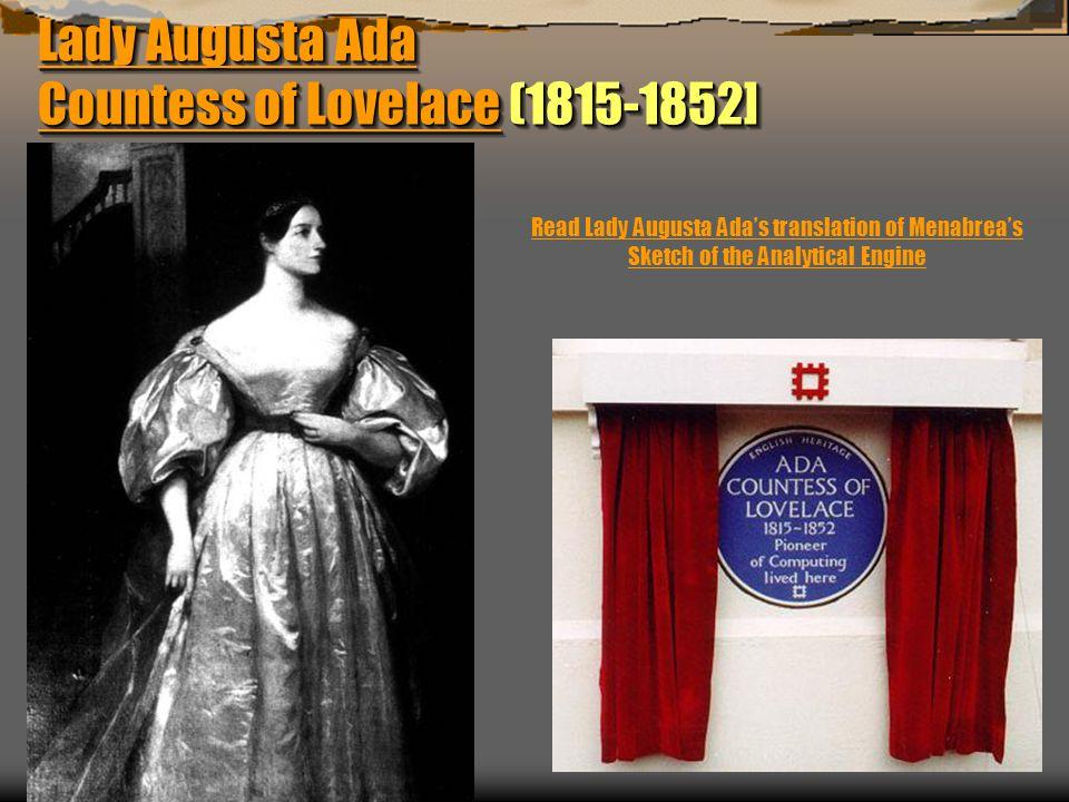 Lady Augusta Ada Countess of Lovelace (1815-1852]